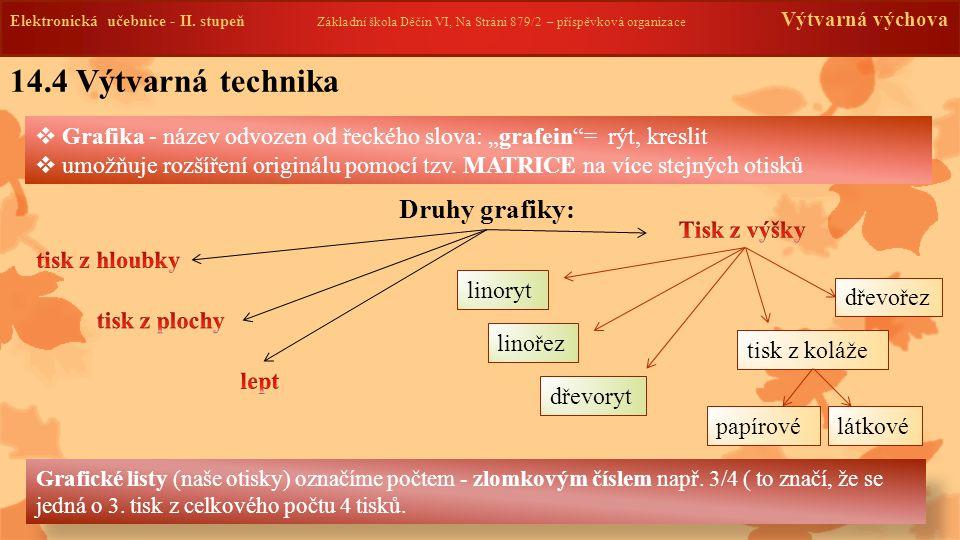 14.4 Výtvarná technika Druhy grafiky: