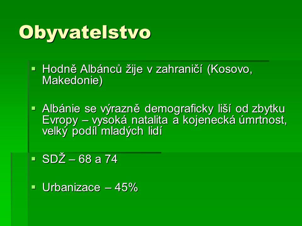 Obyvatelstvo Hodně Albánců žije v zahraničí (Kosovo, Makedonie)