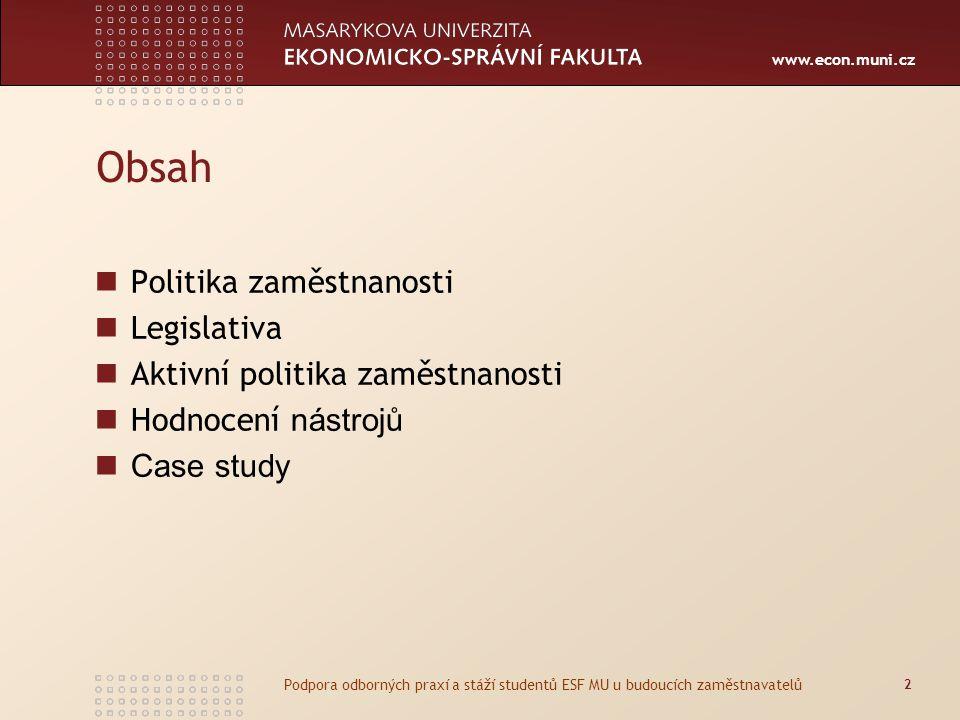 Obsah Politika zaměstnanosti Legislativa