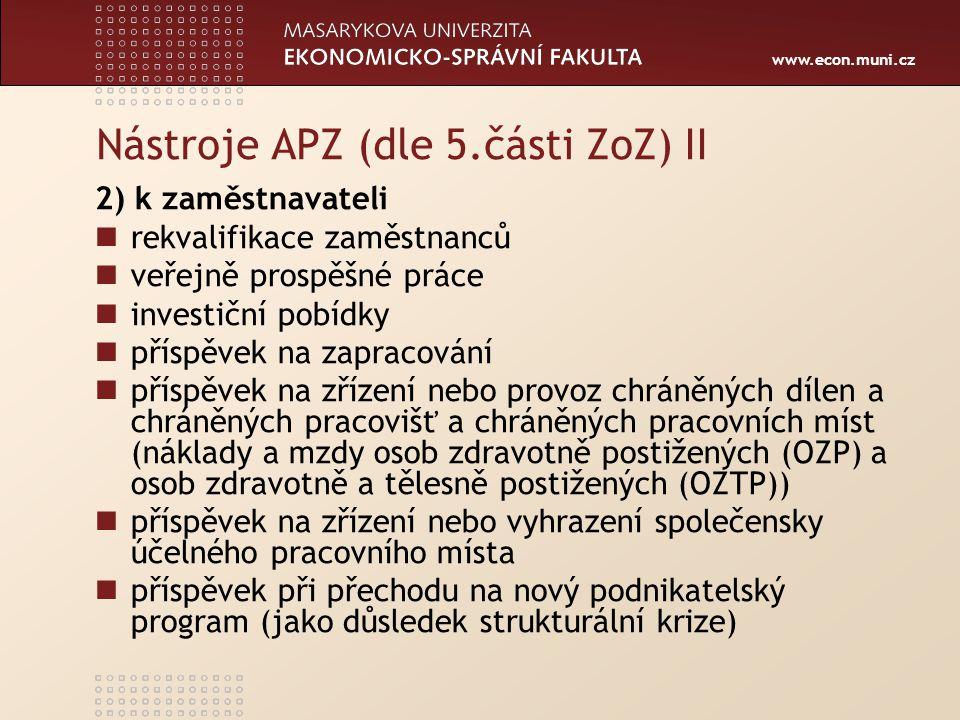 Nástroje APZ (dle 5.části ZoZ) II