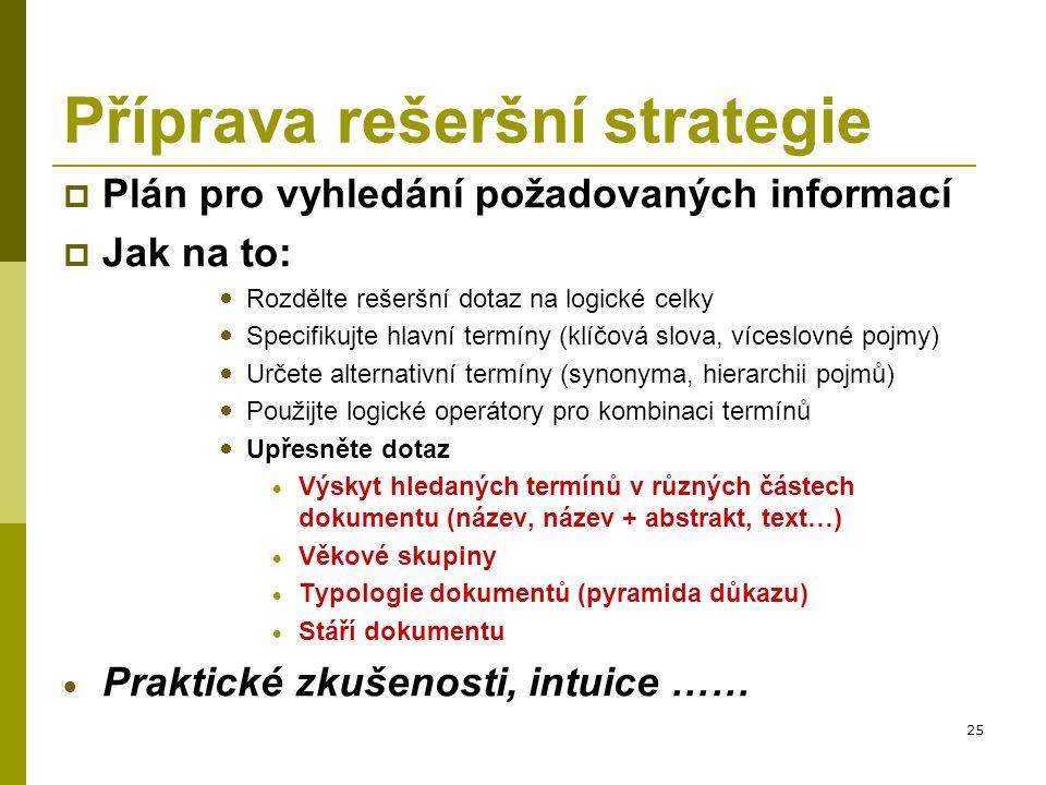 Příprava rešeršní strategie