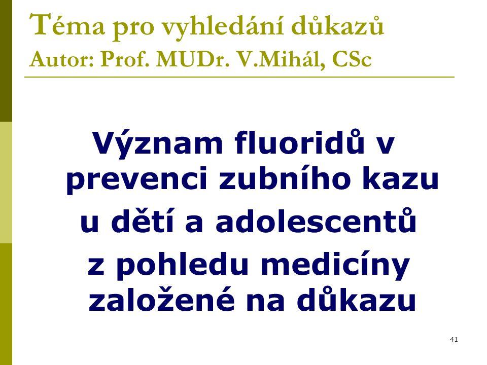 Téma pro vyhledání důkazů Autor: Prof. MUDr. V.Mihál, CSc