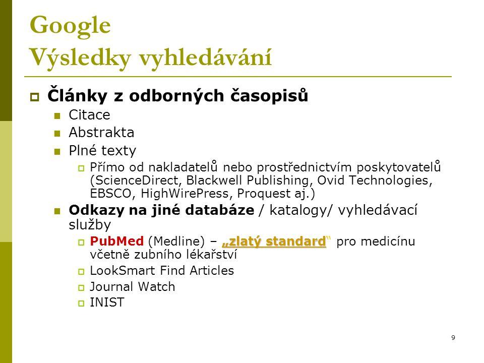 Google Výsledky vyhledávání