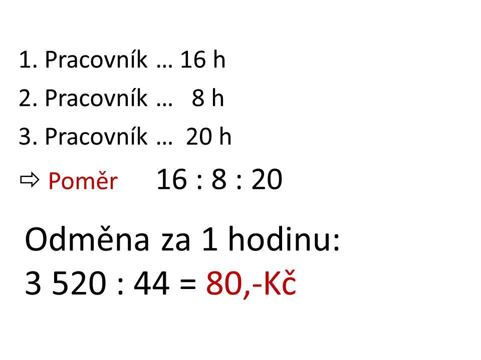 Odměna za 1 hodinu: 3 520 : 44 = 80,-Kč 1. Pracovník … 16 h