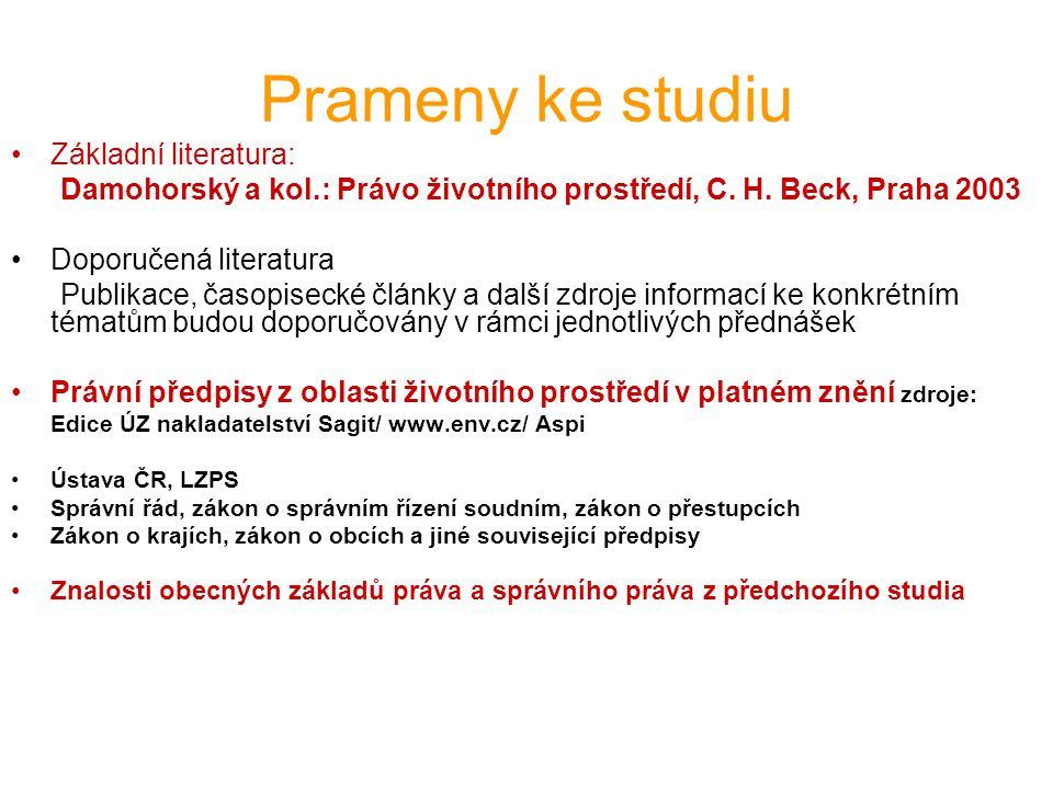 Prameny ke studiu Základní literatura: