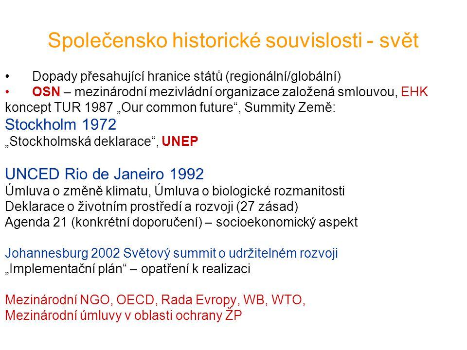 Společensko historické souvislosti - svět