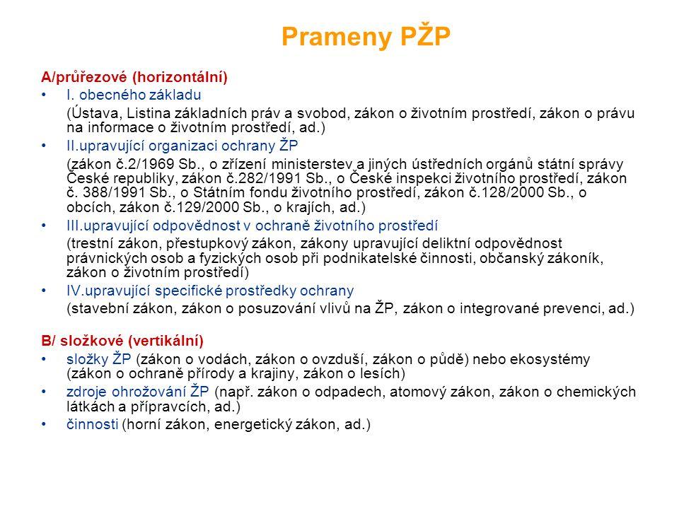 Prameny PŽP A/průřezové (horizontální) I. obecného základu
