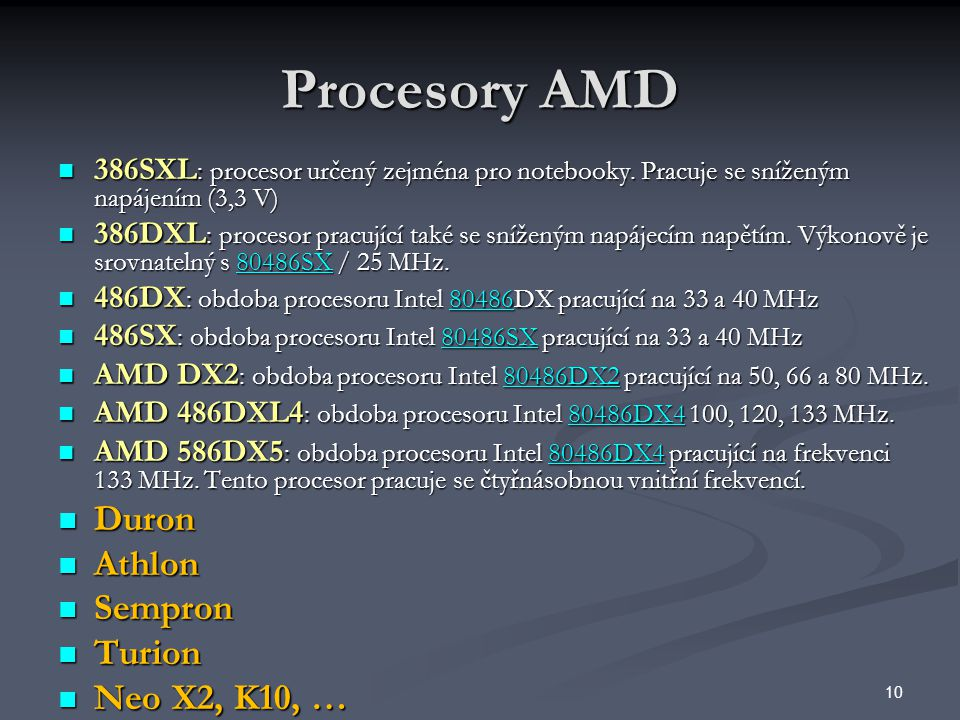 Procesory AMD Duron Athlon Sempron Turion Neo X2, K10, …