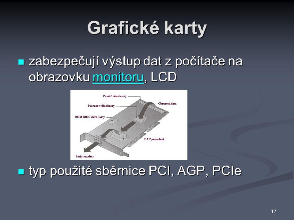 Grafické karty zabezpečují výstup dat z počítače na obrazovku monitoru, LCD.