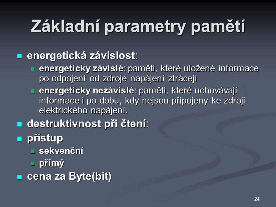Základní parametry pamětí