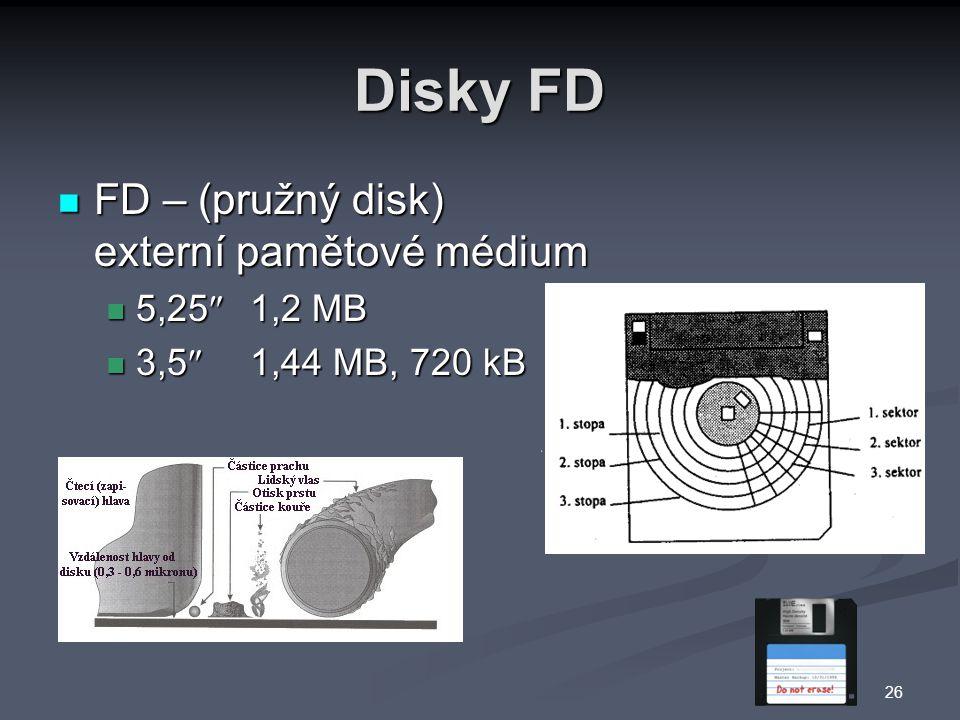 Disky FD FD – (pružný disk) externí pamětové médium 5,25 1,2 MB