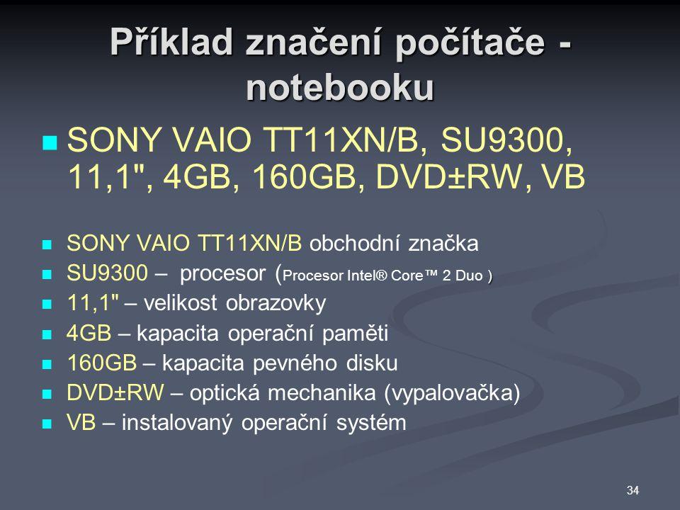 Příklad značení počítače - notebooku