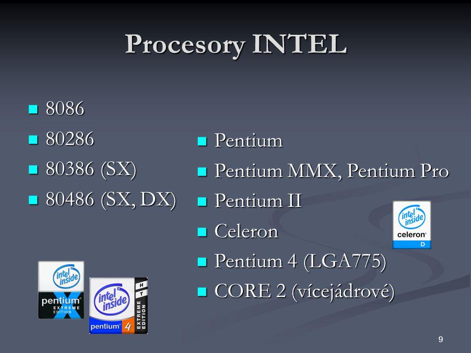 Procesory INTEL 8086 80286 80386 (SX) Pentium 80486 (SX, DX)