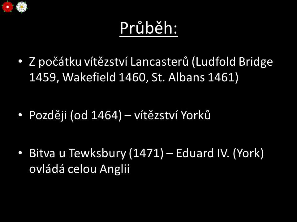 Průběh: Z počátku vítězství Lancasterů (Ludfold Bridge 1459, Wakefield 1460, St. Albans 1461) Později (od 1464) – vítězství Yorků.