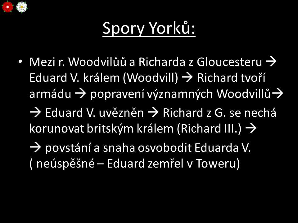 Spory Yorků: Mezi r. Woodvilůů a Richarda z Gloucesteru  Eduard V. králem (Woodvill)  Richard tvoří armádu  popravení významných Woodvillů