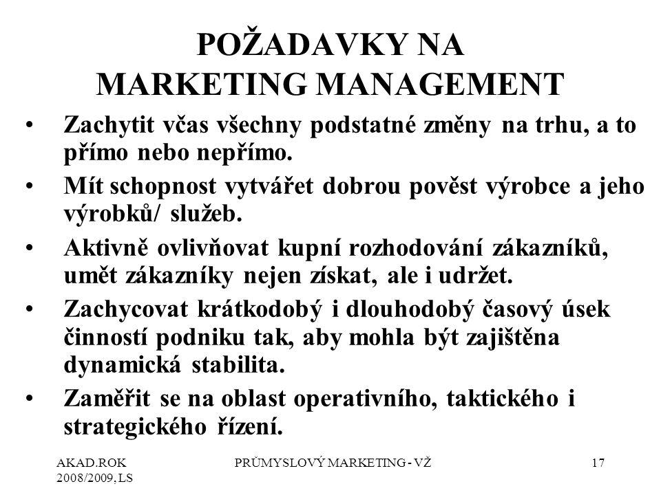POŽADAVKY NA MARKETING MANAGEMENT