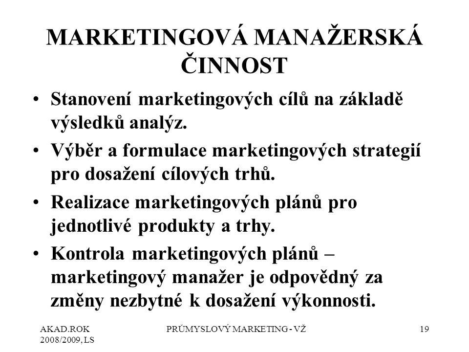 MARKETINGOVÁ MANAŽERSKÁ ČINNOST