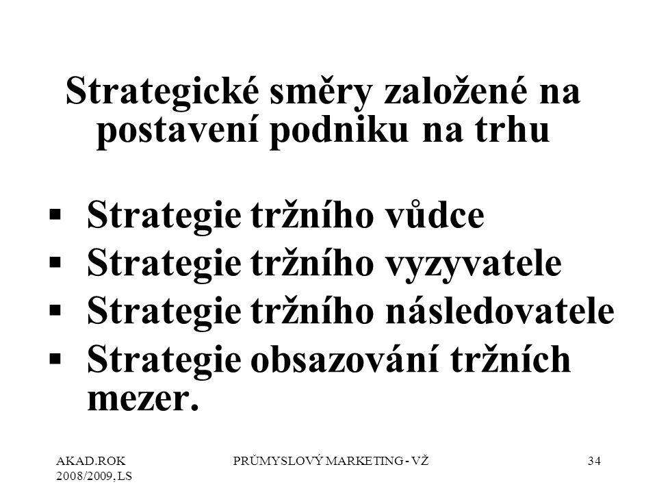 Strategické směry založené na postavení podniku na trhu