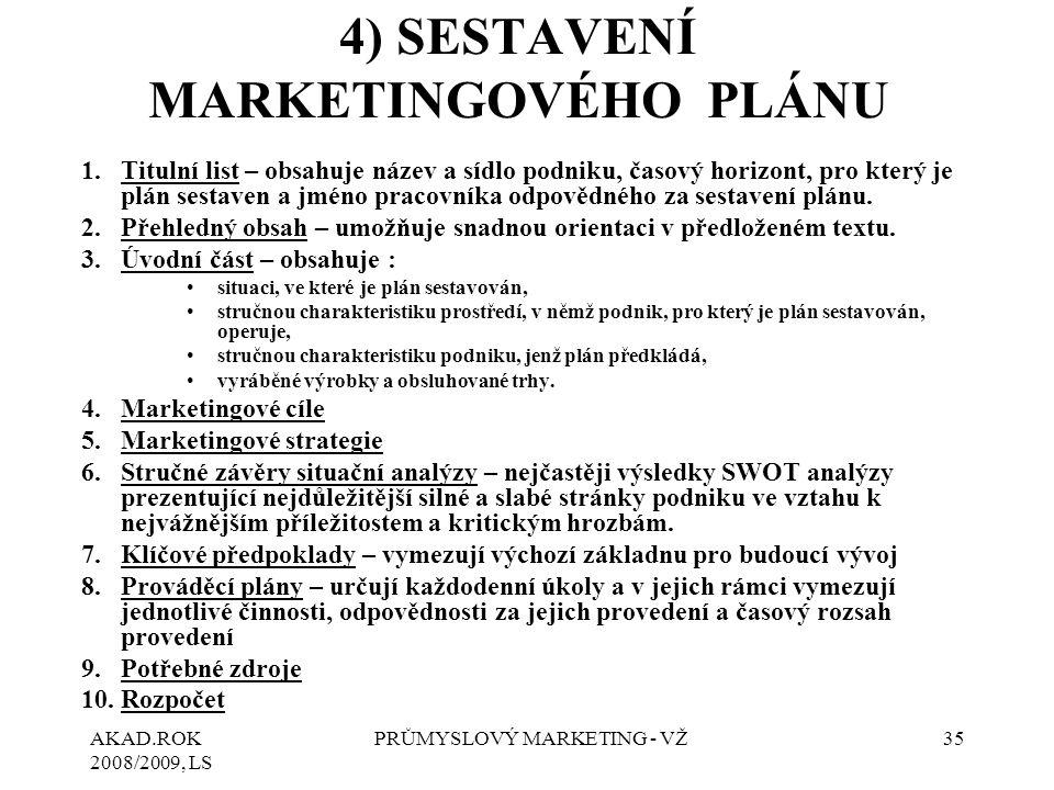 4) SESTAVENÍ MARKETINGOVÉHO PLÁNU