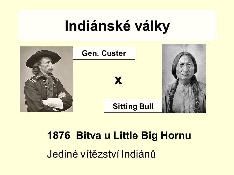 Indiánské války x Bitva u Little Big Hornu Jediné vítězství Indiánů