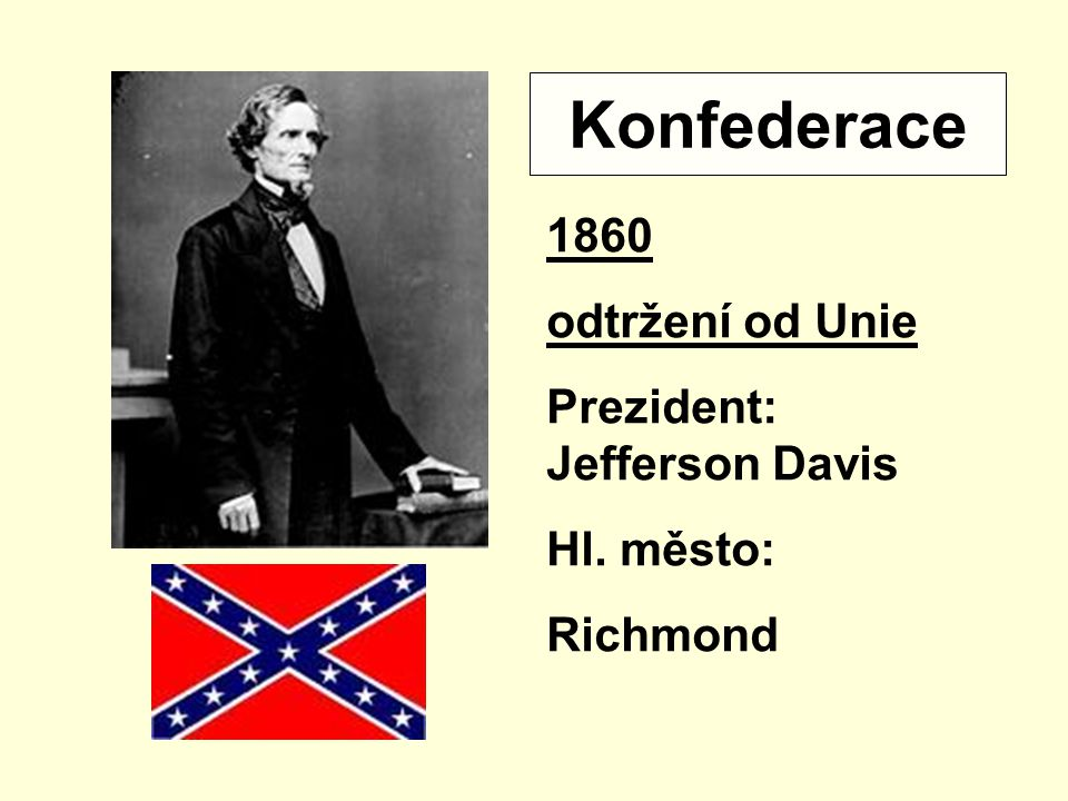 Konfederace 1860 odtržení od Unie Prezident: Jefferson Davis