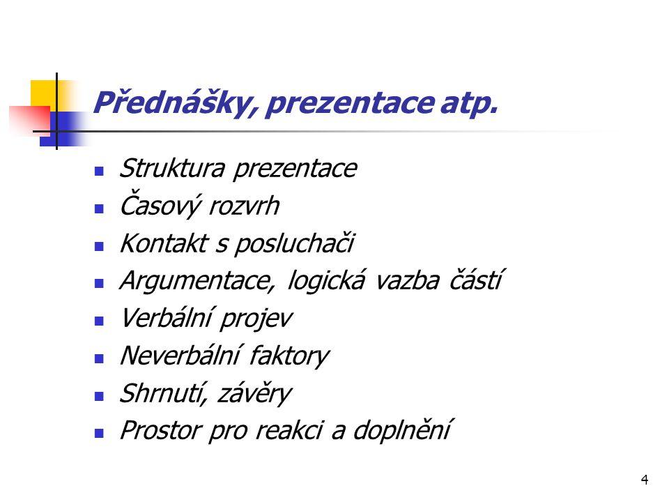 Přednášky, prezentace atp.