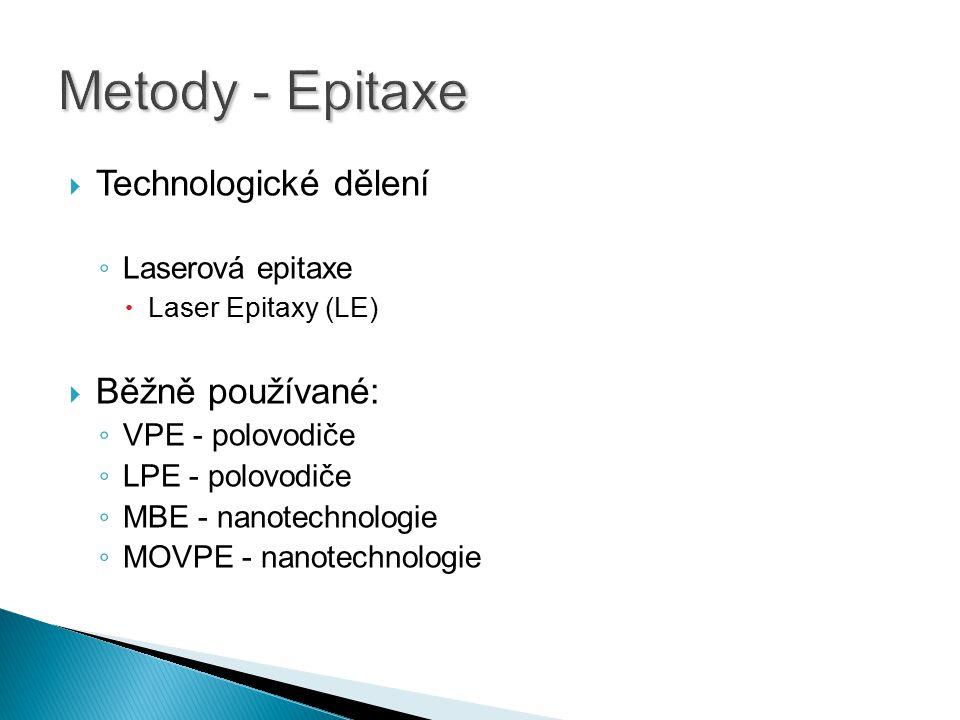 Metody - Epitaxe Technologické dělení Běžně používané: