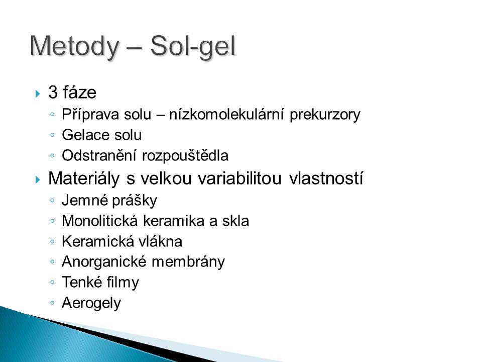 Metody – Sol-gel 3 fáze Materiály s velkou variabilitou vlastností