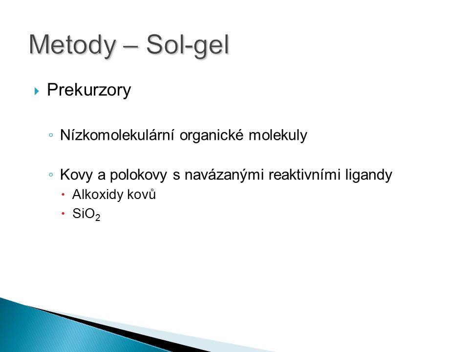 Metody – Sol-gel Prekurzory Nízkomolekulární organické molekuly
