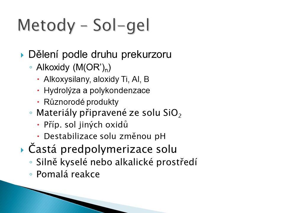 Metody – Sol-gel Dělení podle druhu prekurzoru