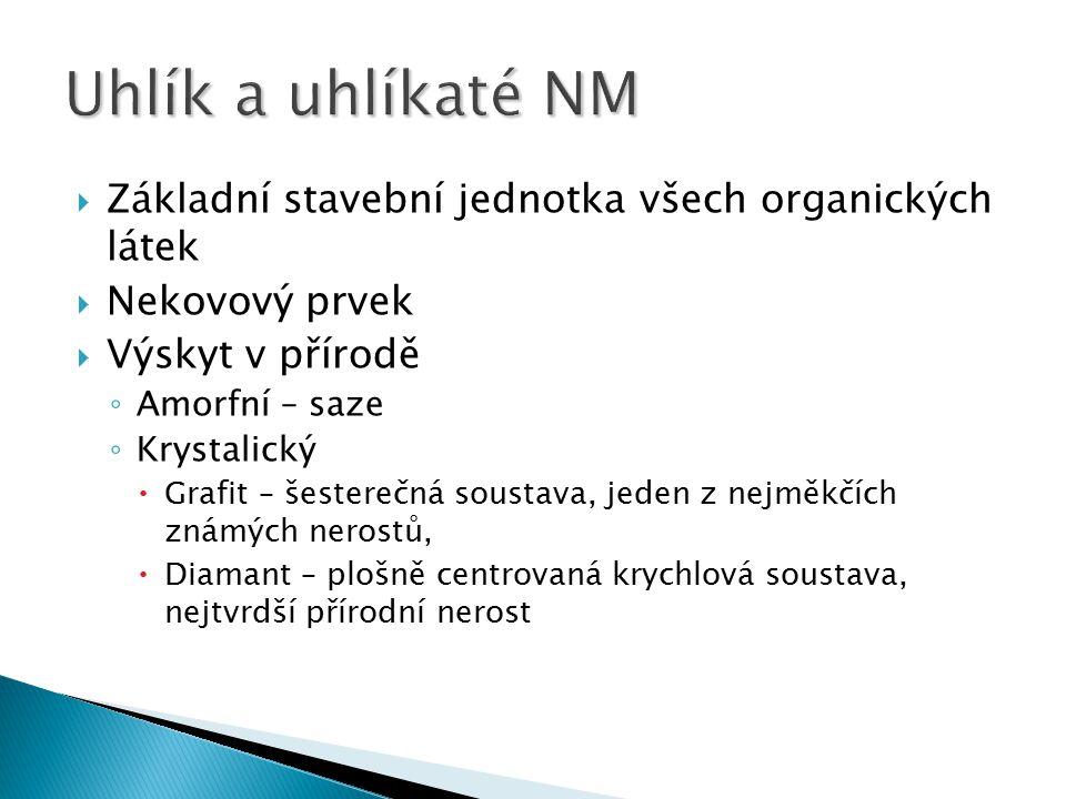 Uhlík a uhlíkaté NM Základní stavební jednotka všech organických látek