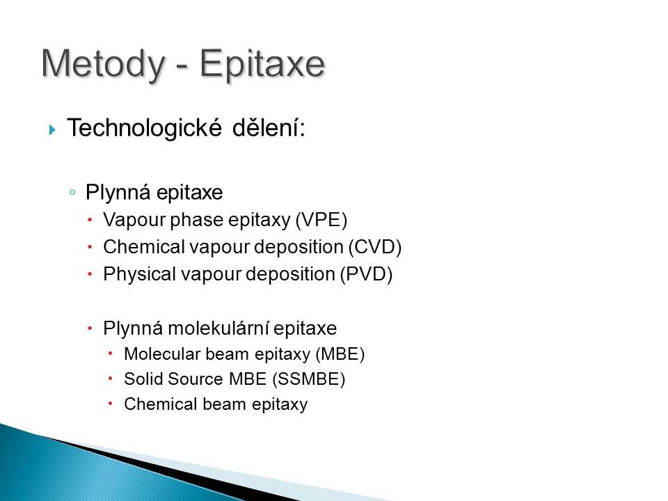Metody - Epitaxe Technologické dělení: Plynná epitaxe