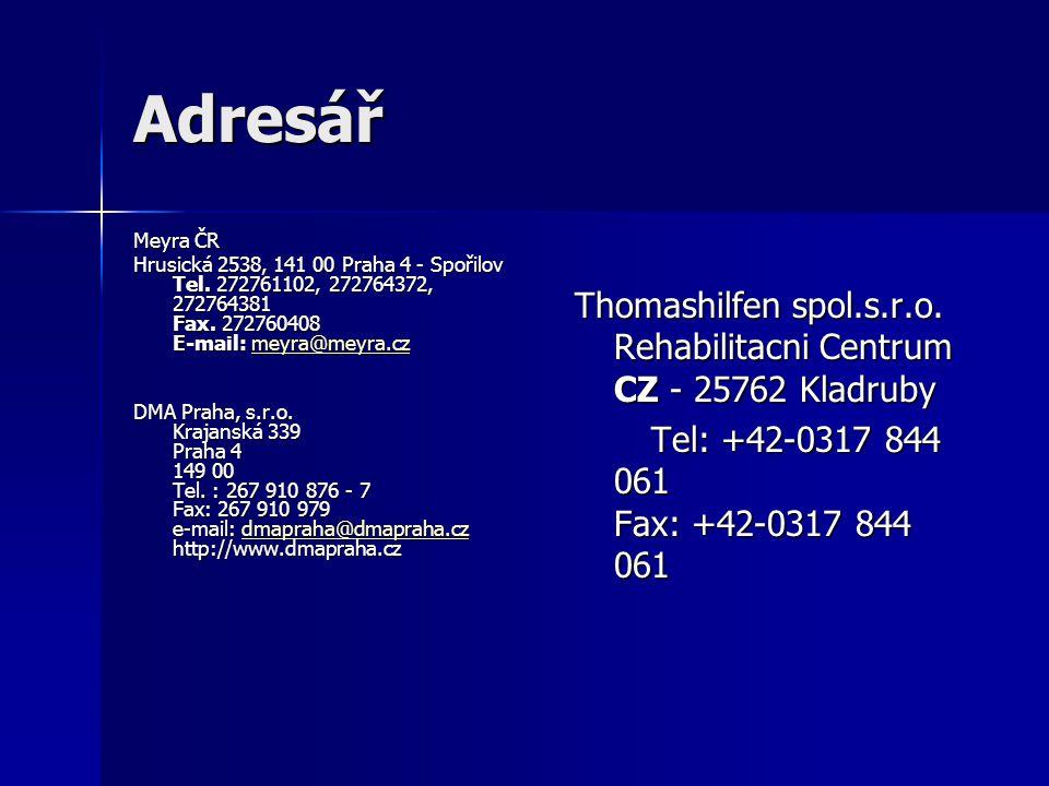 Adresář Meyra ČR. Hrusická 2538, 141 00 Praha 4 - Spořilov Tel. 272761102, 272764372, 272764381 Fax. 272760408 E-mail: meyra@meyra.cz.