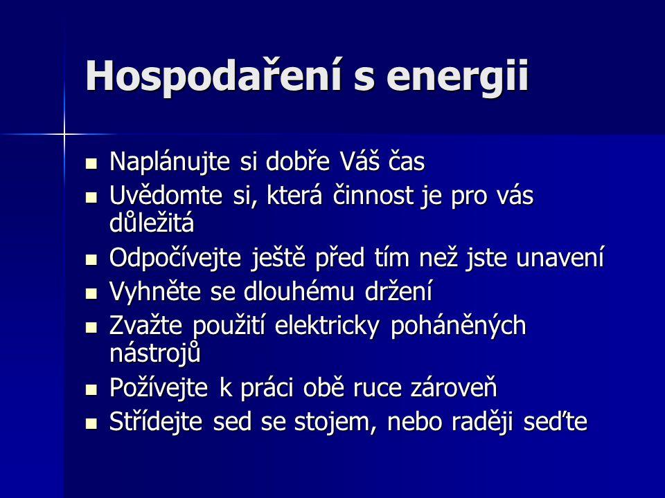 Hospodaření s energii Naplánujte si dobře Váš čas