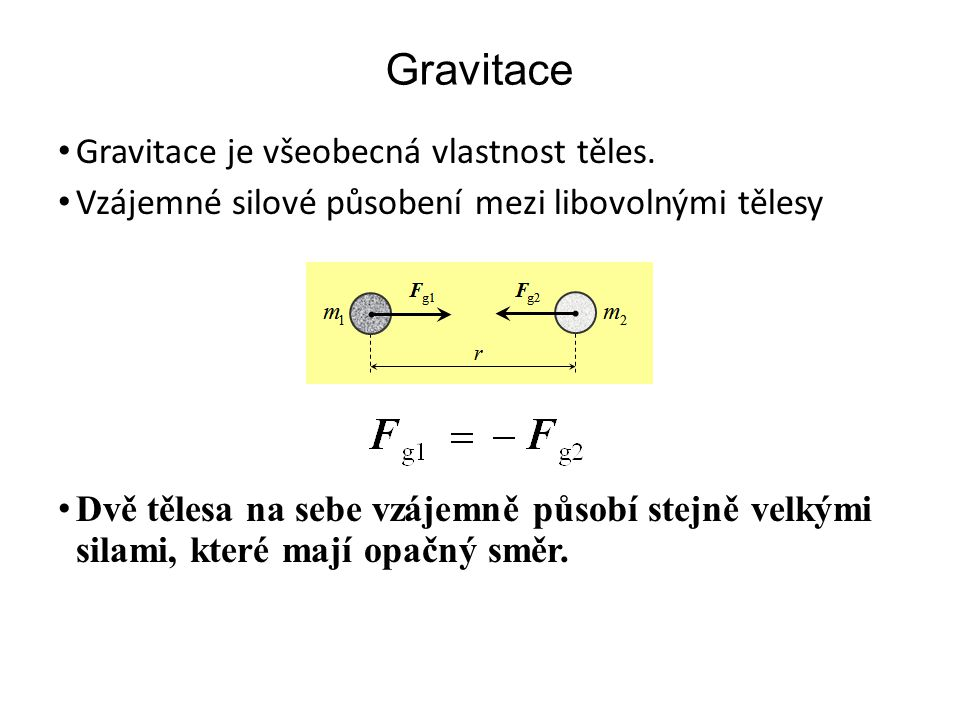 Gravitace Gravitace je všeobecná vlastnost těles.
