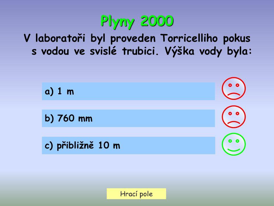 Plyny 2000 V laboratoři byl proveden Torricelliho pokus s vodou ve svislé trubici. Výška vody byla:
