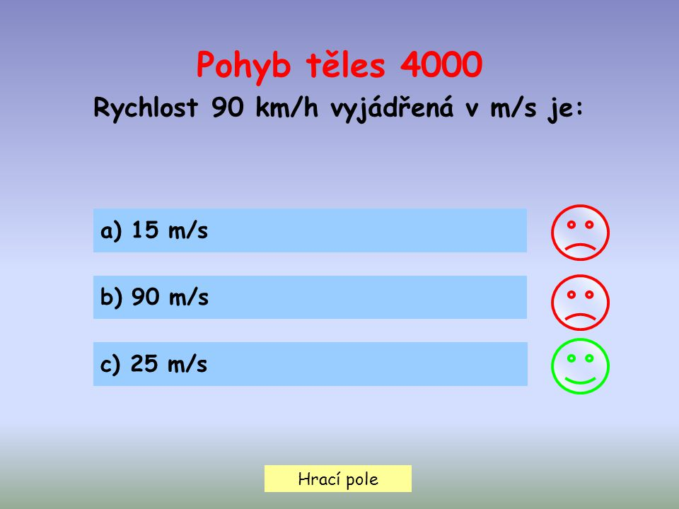 Rychlost 90 km/h vyjádřená v m/s je: