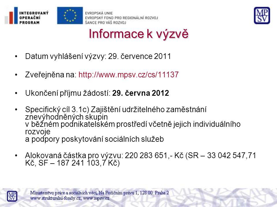 Informace k výzvě Datum vyhlášení výzvy: 29. července 2011