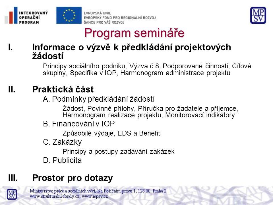 Program semináře Informace o výzvě k předkládání projektových žádostí