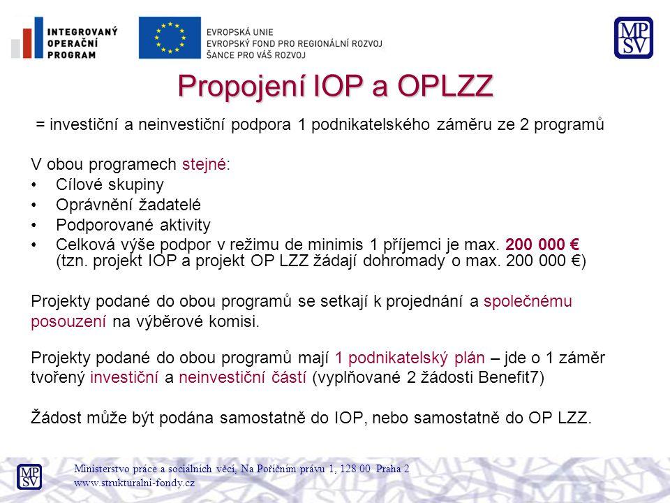 Propojení IOP a OPLZZ = investiční a neinvestiční podpora 1 podnikatelského záměru ze 2 programů. V obou programech stejné: