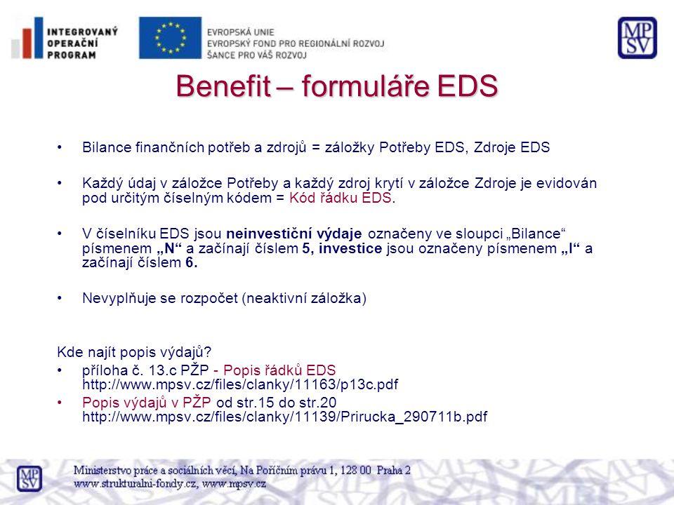 Benefit – formuláře EDS