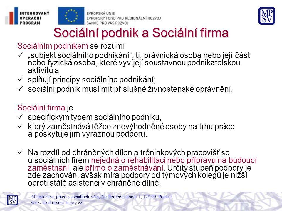 Sociální podnik a Sociální firma