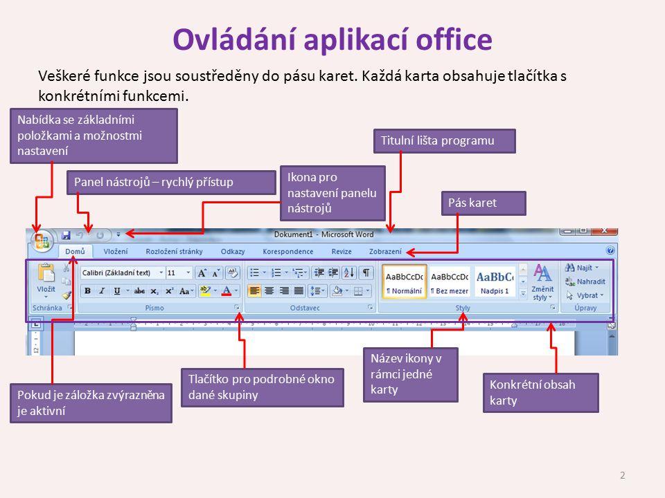 Ovládání aplikací office