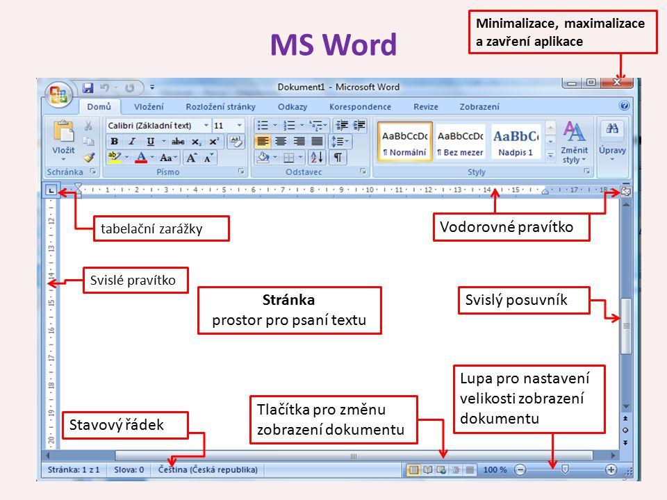 prostor pro psaní textu
