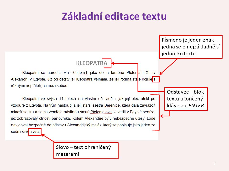 Základní editace textu
