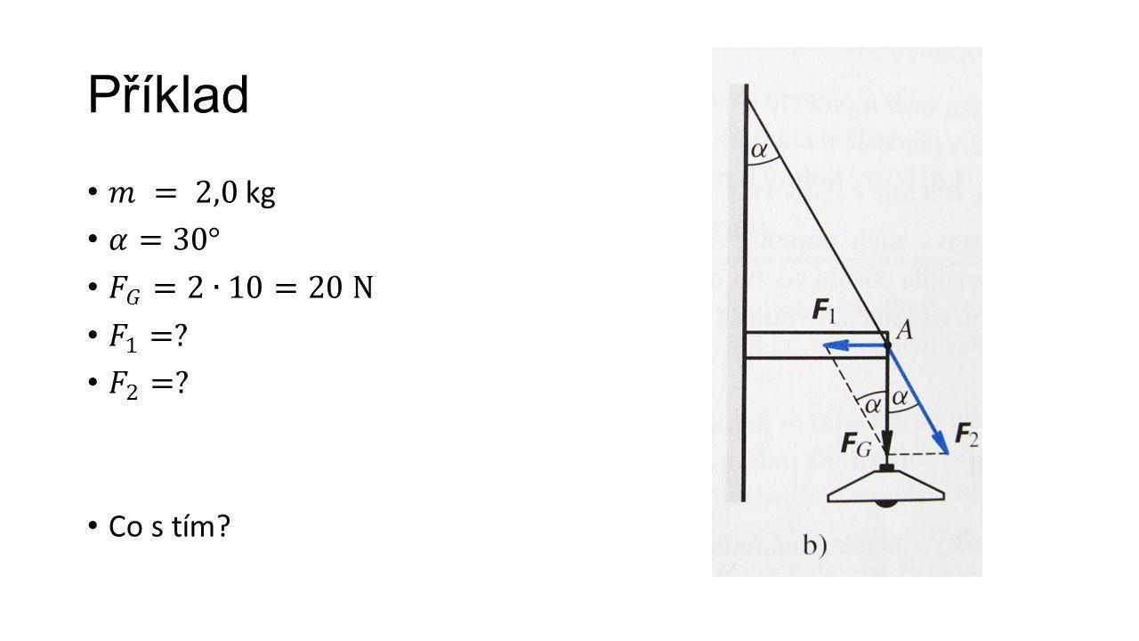Příklad 𝑚 = 2,0 kg 𝛼=30° 𝐹 𝐺 =2∙10=20 N 𝐹 1 = 𝐹 2 = Co s tím