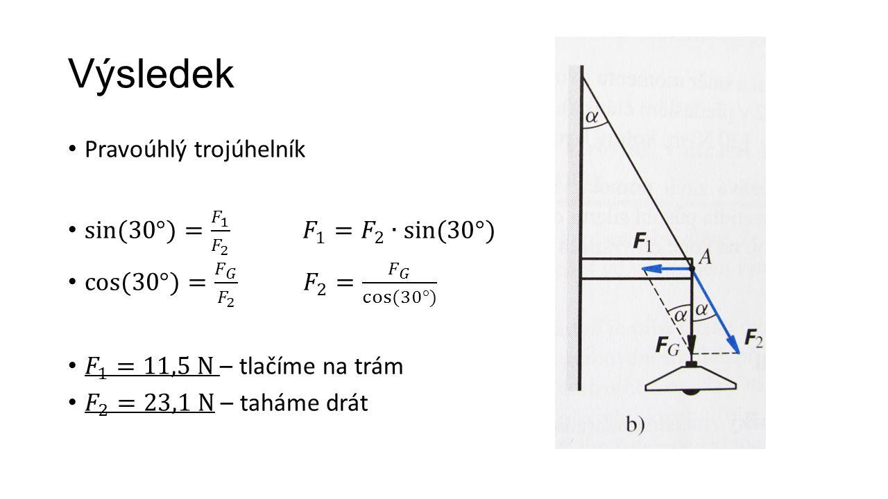 Výsledek Pravoúhlý trojúhelník sin(30°)= 𝐹 1 𝐹 2 𝐹 1 = 𝐹 2 ∙sin(30°)