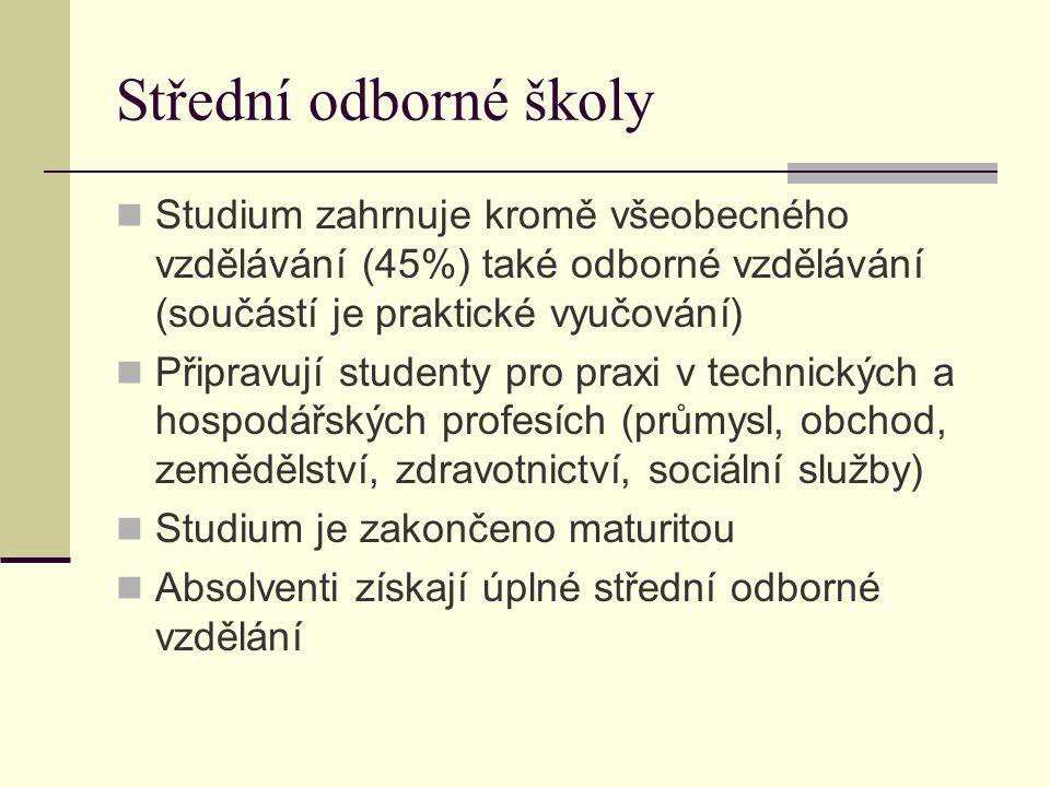 Střední odborné školy Studium zahrnuje kromě všeobecného vzdělávání (45%) také odborné vzdělávání (součástí je praktické vyučování)