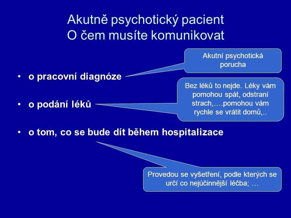 Akutně psychotický pacient O čem musíte komunikovat