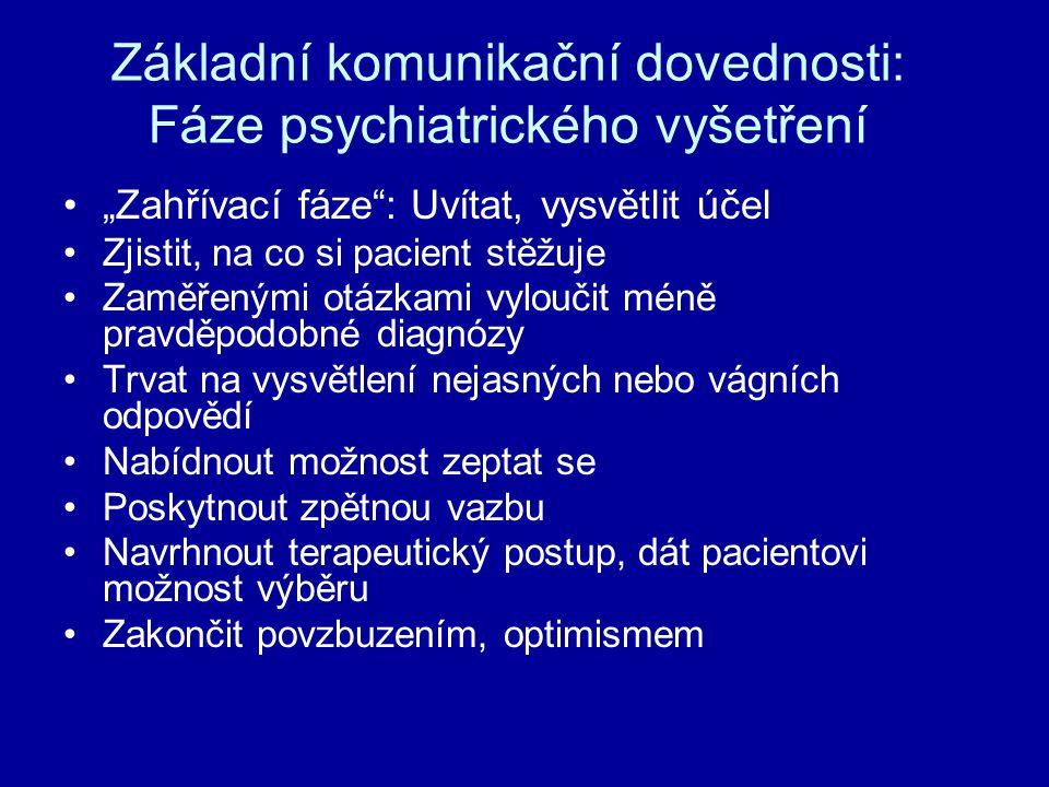 Základní komunikační dovednosti: Fáze psychiatrického vyšetření